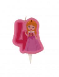 Bougie d'anniversaire princesse chiffre 4