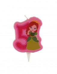 Bougie d'anniversaire princesse chiffre 5