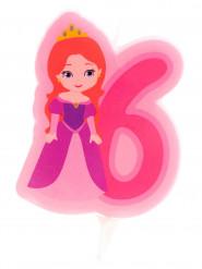Bougie d'anniversaire princesse chiffre 6