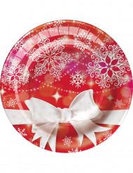 8 Petites assiettes en carton Noeud de Noël 18 cm