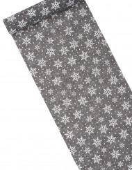 Chemin de table en toile grise avec flocons 28 cm x 4 m