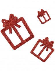6 Décorations cadeaux rouges à paillettes
