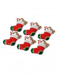 6 Mini décorations chaussettes de noël 3 cm