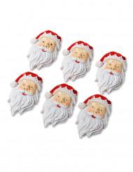 6 Mini Père Noël en résine 4 cm