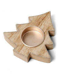 Bougeoir sapin en bois avec paillettes cuivrées 10,5 cm