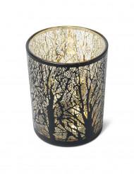 Photophore noir et or arbre 12.5 cm