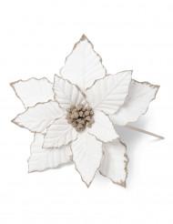 Fleur de noël en lin cuivre pailletée 18 cm
