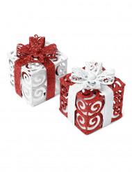 1 Petit paquet cadeau rouge et blanc 7 cm