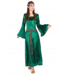 Déguisement médiéval vert effet velours femme