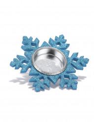 Porte bougie flocon de neige bleu