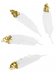 6 Plumes blanches à paillettes dorées