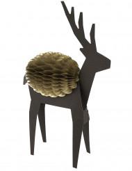Décoration alvéolée cerf noir et or Noël 16 cm