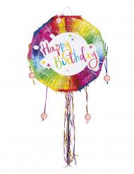 Piñata ronde multicolore Happy Birthday 40 cm
