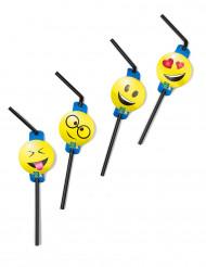 8 Pailles avec médaillons émoticônes Imoji™