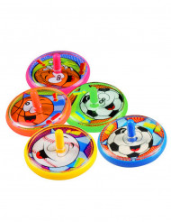 5 Toupies piñatas colorées sport 4 cm