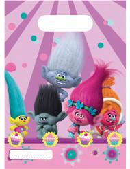 6 Sacs cadeaux Trolls™ 16,5 x 23 cm
