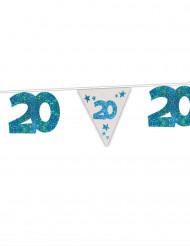 Guirlande bleue à paillettes 20 ans 6m