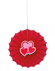 Rosace en papier rouge  avec coeurs 30 cm