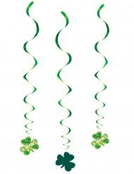 3 Décorations à suspendre spirales St Patrick 60 cm