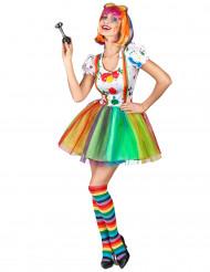 Déguisement clown peinture multicolore femme