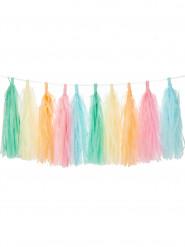 Kit guirlande tassel 30 pompons arc en ciel pastel