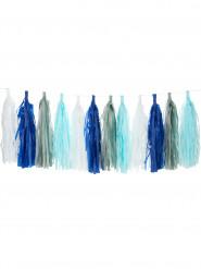 Kit guirlande tassel 24 pompons bleus, blancs, gris, bleu ciel