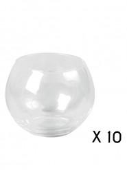 10 Bougeoirs boule en verre 10 cm
