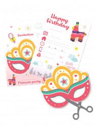 6 Cartes d'invitation Princesse