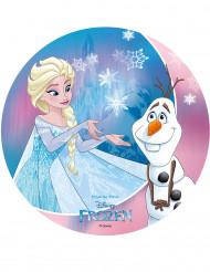 Disque azyme La Reine des Neiges™ Olaf et Elsa 20 cm