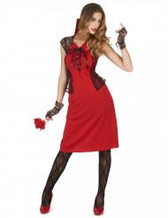 Déguisement vampire sexy rouge et noir femme