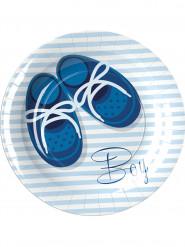 8 Petites assiettes en carton Baby Boy 18 cm
