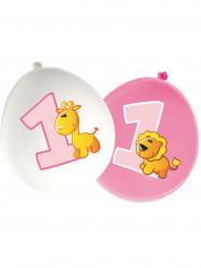 16 Ballons latex Animaux 1 an fille 30 cm