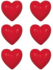 6 Petites bougies coeur 2.5 cm