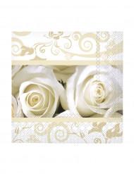 20 Petites serviettes en papier roses blanches 25 x 25 cm