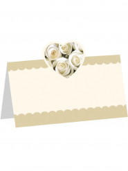 8 Marque-places roses blanches