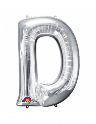 Ballon aluminium géant Lettre D argent 60 x 83 cm