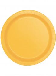 20 Petites assiettes en carton jaune tournesol 17 cm