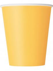 8 Gobelets jaune tournesol en carton 270 ml