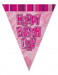 Guirlande fanions rose Happy Birthday 2.74 m