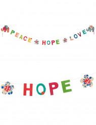 Mini guirlande en lokta Peace, hope and love 1m