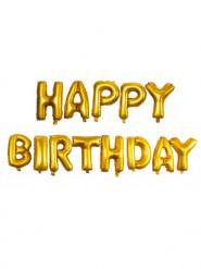 13 Ballons aluminium or Happy Birthday 40 cm