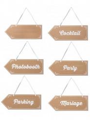6 Pancartes signalétiques Mariage 40 cm