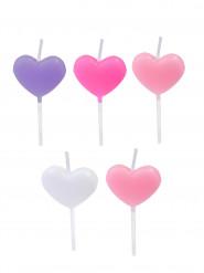 5 Bougies cœurs pastel 5,5 cm