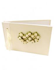 Petit livre d'or ivoire petites roses