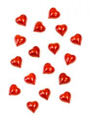 20 Mini-coeurs nacrés rouge