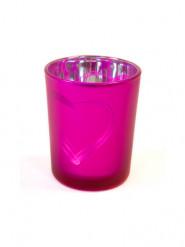 Photophore en verre coeur fuchsia