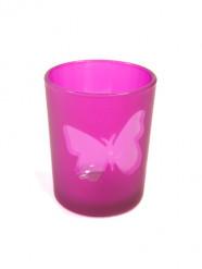 Photophore en verre papillon fuchsia 6,8 x 5,8 cm