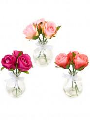 Vase avec 3 roses (aléatoire)