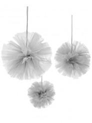 3 Pompons tulle gris à suspendre 15, 20 et 30 cm