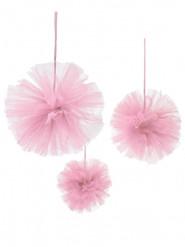 3 Pompons tulle rose à suspendre 15, 20 et 30 cm